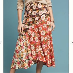 Anthropology FARM rio patchwork midi skirt